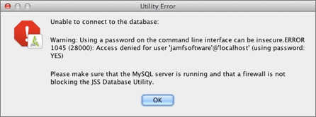 Database Utility warning