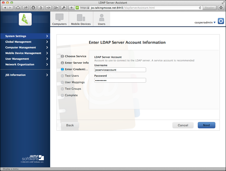 LDAP Server Account credentials