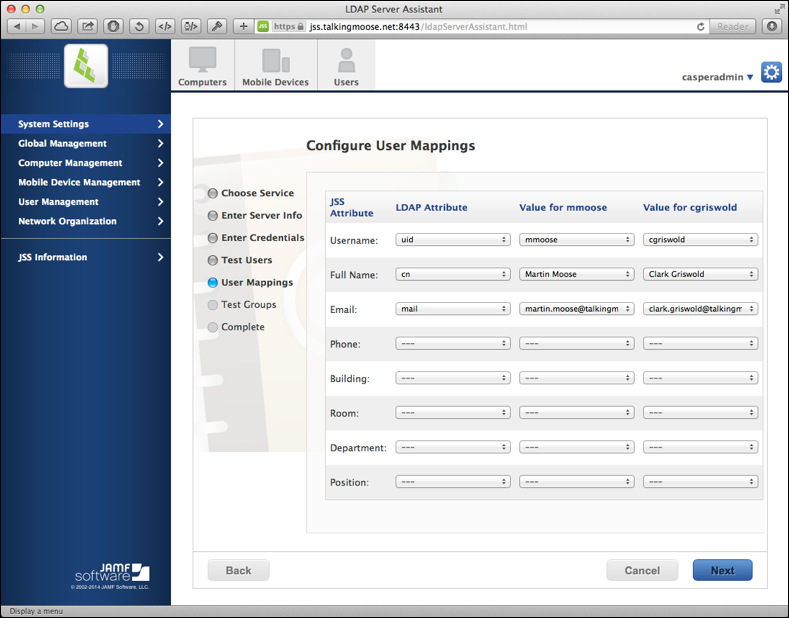 Configure user mappings