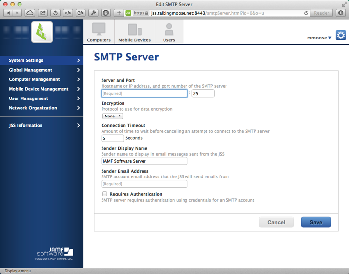 Unconfigured SMTP Server