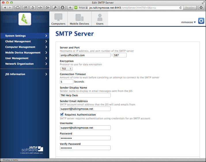 Configured SMTP Server
